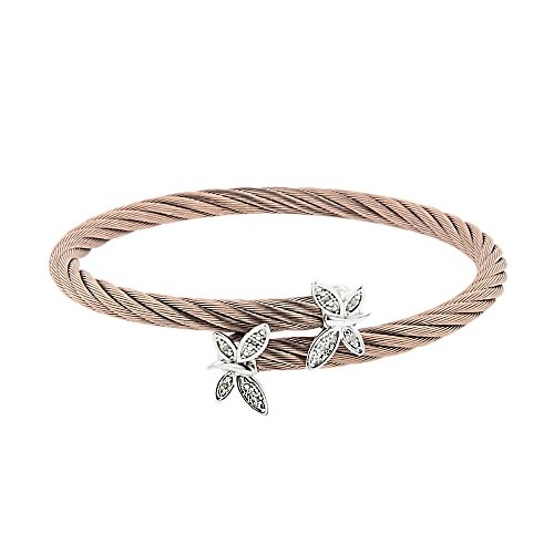 Silver with Rose Finish+Stainless Steel Cablebypass Bangle with 0.04Ct. Diamond by BH 5 Star Jewelry