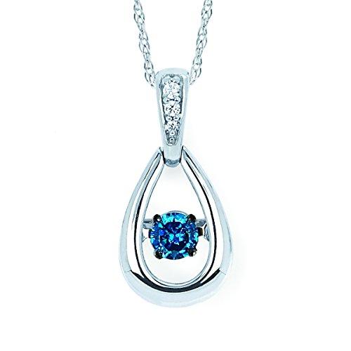 (14K White Gold Dancing Blue Diamond Dainty Tear Drop Pendant Necklace, 18