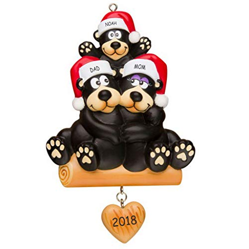 DIBSIES Personalization Station Personalized Huggable Black Bear Family Christmas Ornament (Family of 3)