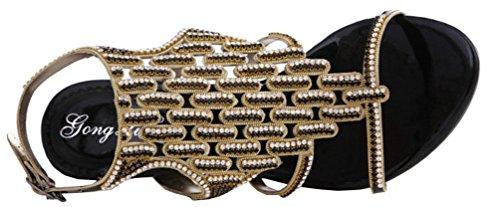 Abby Mn-l022 Femmes Sexy Confort Nouveau Mode Mariage Partie Travail Cuir Mi-talon Sandales Noir