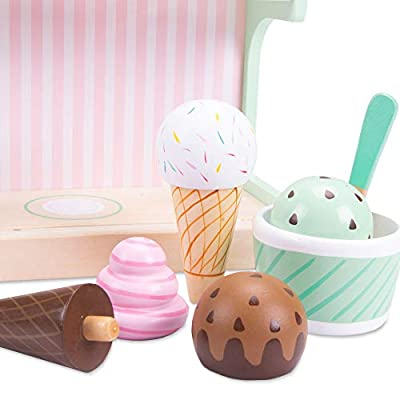 Ice Cream Maker Playset | Classic Wooden Play Food and Pretend Accessories | 9 Pieces, Including Mixing Station, Cup, Spoon, Cones, and Four Dessert Flavors: Toys & Games