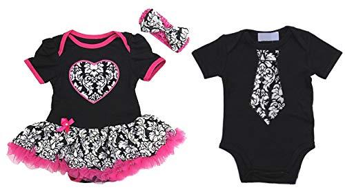 Kirei Sui Baby Black Hot Pink Damask Heart Bodysuit Tutu Tie Romper Twins Set Medium Red