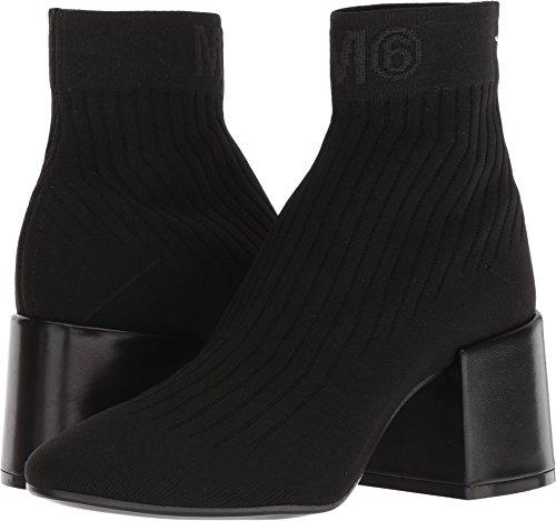 Maison Margiela MM6 Womens Logo Sock Bootie Black/Black