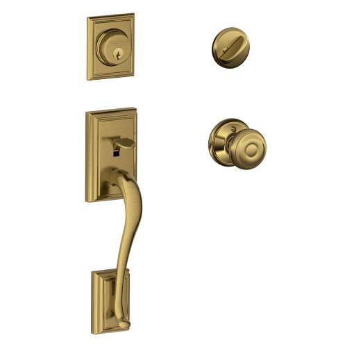 Handleset Brass Knob - Addison Single Cylinder Handleset and Georgian Knob, Antique Brass (F60 ADD 609 GEO)