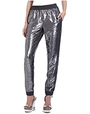 BCBGMaxAzria Zhara Sequined Pants for Women in Silver Sive Medium