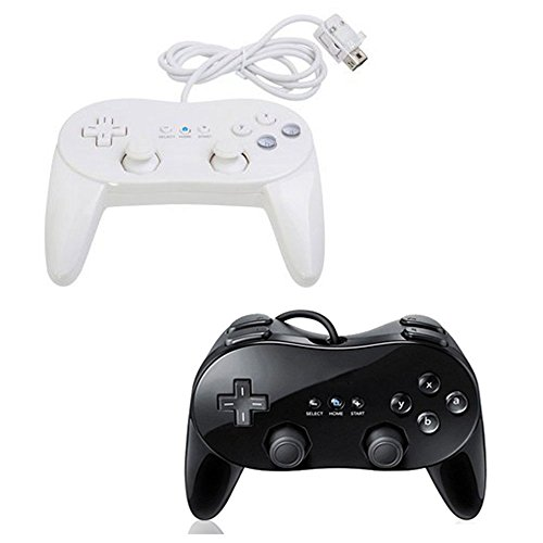 Best Wireless Gamecube Controller (Bowink 2 Packs Classic Retro Wired Controllers for Wii (Black1 and White1))