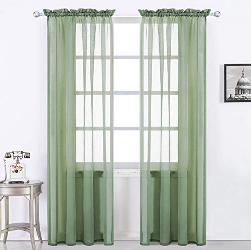 - Selectex Solid Color Linen Look Semi-Sheer Curtains - Rod Pocket Voile Curtains for Living and Bedroom, Set of 2 Curtain Panels(54 x 45 Inch, Rod Pocket—Moss)