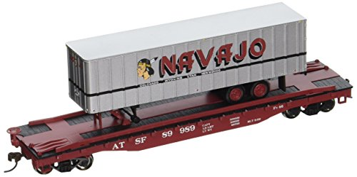 Bachmann Industries 52' with 35' Piggyback Trailer Santa Fe Navajo Freight Lines Flat Car, 6