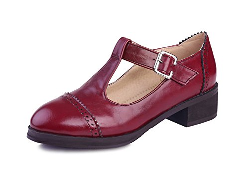 Aisun Womens Vintage Carving T Strap Chunky Mid Heels Pumps Shoes Red q66gXHXwbt
