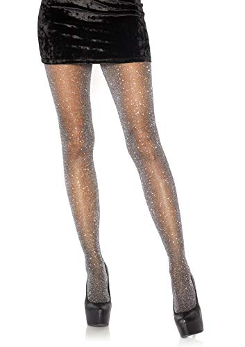 Leg Avenue Womens Lurex Shimmer Tights, O/S, Black/Silver