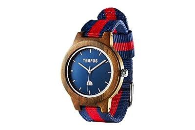 TEMPUS Willoughby - Wood Watch Minimalist Wooden Wristwatch Striped Nylon Oxford Band - TWW06