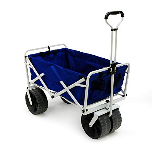 (Folding Beach Wagon All Terrain Blue Collapsible Kart Foldable Sports Dolly Gear Storage Mac Cart with Cooling Towel )