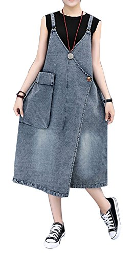 Plaid&Plain Women's Loose Adjustable Strap Overalls Dress Asymmetrical Maxi Dress Denim ()