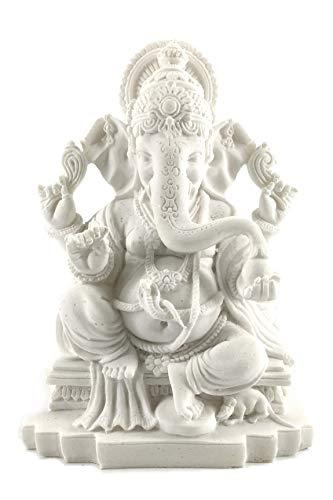 Bellaa 23613 Ganesh Beautiful Statues Hindu Good Luck God (Blessing White Ganesha)