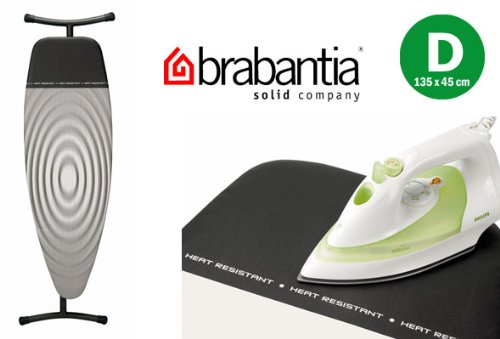 "Brabantia Titan Grey Oval D Ironing Board Cover with Heat Resistant Parking Zone - 53"" X 18"""