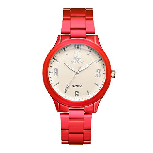 (Qvwanle Geometric Surface Dial Alloy Strap Ladies Quartz Watch for Gift (Red))