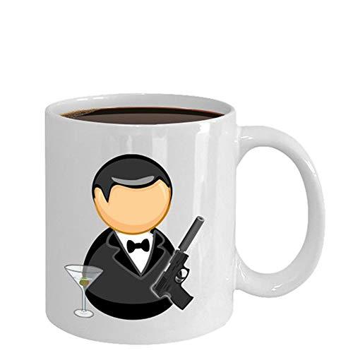 Saucer Coffee Bond (James Bond - James Bond, 007 Mug, James Bond Art- 11oz Ceramic Coffee Novelty Mug/Tea Cup, High Gloss)