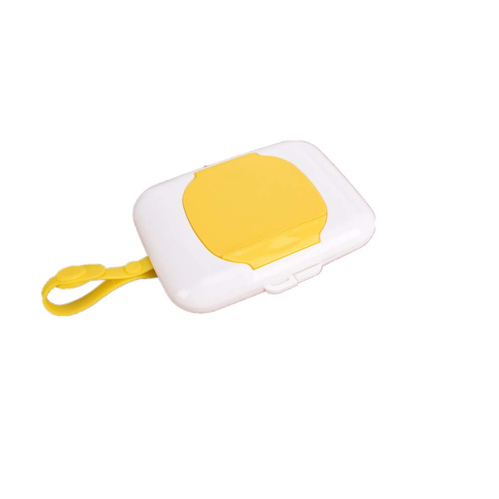 Fadacai Baby Wipes Dispenser Box Travel Portable Wet Tissue Case Plastic Wet Wipes Carry Container Storage Holder Yellow