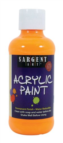 Sargent Art 22-2211 8-Ounce Fluorescent Acrylic Paint, Yellow-Orange