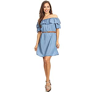 Anna-Kaci Womens Off Shoulder Comfy Casual Ruffle Short Denim Slip Dress