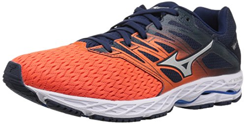 Mizuno Men's Wave Shadow 2 Running Shoe, Flame/Dress Blue, 9.5 D US ()