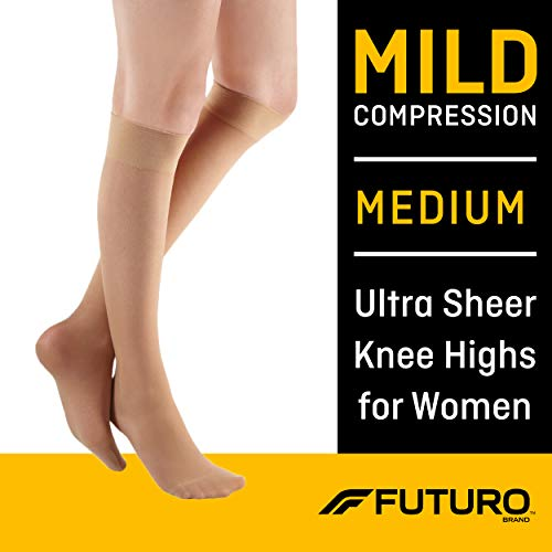 Futuro Energizing Ultra Sheer Knee Highs for Women, Helps Relieve Symptoms of Mild Spider Veins, Mild Compression, Medium, Nude