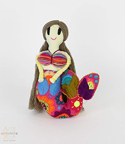 Handmade Mermaid Doll Handmade Mermaid Toy Plush Mermaid Doll Mexican Mermaid Embroidered Mermaid Doll 11 x 8 Fair Trade Mermaid Doll