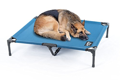 Elevated Pet Cot by 2PET - Deluxe Cooling Elevated Dog Bed - Dog Cot that Provides Maximum Comfort - Good Sleep - Joints Support & Insect Relief– All Seasons. Large Blue - Model EPB06
