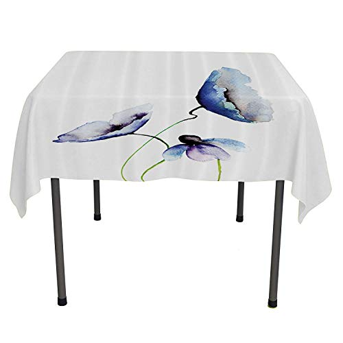 Watercolor Flower Decor Collection, Tablecloth Dust-Proof Table Cover Poppies Wildflowers Blooms in Watercolor Painting, Home Decoration Outdoor, 50x50 Inch Navy Blue White Green