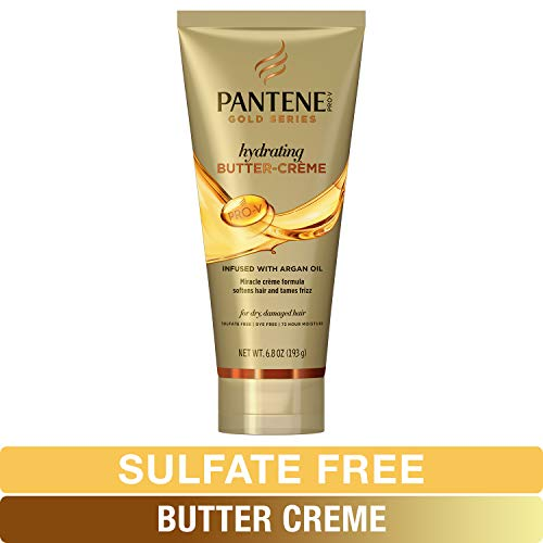 Pantene Butter Crème Hair Treatment, Sulfate Free, Intense Hydrating, Pro-V Gold Series, for Natural and Curly Textured Hair, 6.8 fl oz