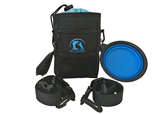 Dog Treat Pouch By Pet Lovers: Puppy Storage Bag With Collapsible Food & Water Bowl And Disposable Poop Bag Hanging Crossbody Bag For Traveling, Walking And Training Dogs Adjustable Belt Strap