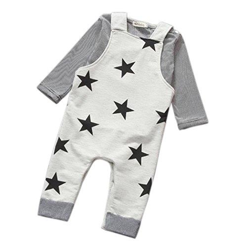 Outfits Jungen Kolylong 1 Satz Jungen Streifen-T-Shirt Top Trägerhose Insgesamt Outfits (90, grau)