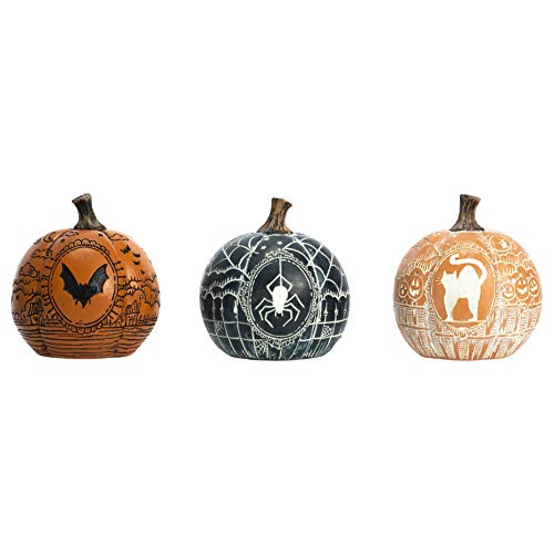 Transpac Imports, Inc. Vintage Vibes Pumpkin Multicolored 4 x 4 Resin Stone Halloween Figurine Set of 3]()