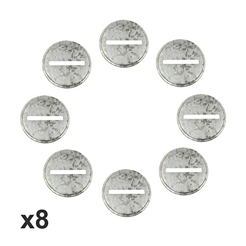 Shinny Galvanized Metal Coin Slot Bank Lid Inserts for Mason, Ball, Canning Jars (8 Pack, Regular Mouth)