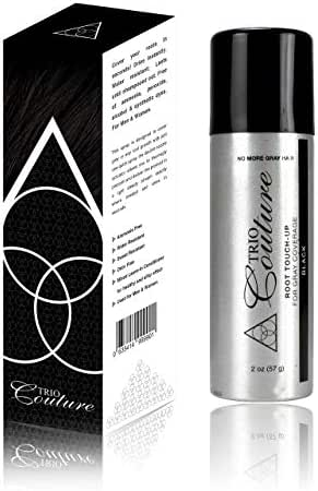 Trio Couture Hair Root Cover Up - Touch Up Gray Concealer Spray - 2 oz (Black)