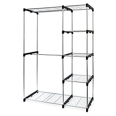 Basics Hardware Deluxe Double Rod Closet Organizer Freestanding Wardrobe  Rack   Silver