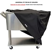 Cooler Cart Cover - Universal Fit For Most 80 QT (Does Not Fit 100 QT) Rolling Cooler (Patio Cooler On Wheels, Beverage Cart, Rolling Ice Chest, Party Cooler) Protective Cover, Water Proof, New 2018