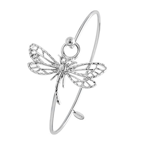 SENFAI New Hollowed-out Dragonfly Easy Opening Bangle Bracelet Jewelry For Elegant Women (Silver) - Silver Dragonfly Bracelets