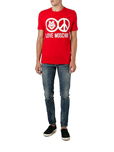 MOSCHINO Love Peace Circle Logo T-Shirt, Red (XL) by MOSCHINO (Image #5)