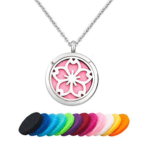 Time Blossoms (Third Time Charm Aromatherapy Cherry Blossom Flower Necklace For Essential Oil Diffuser Locket Pendant, 12 Refill Pads)