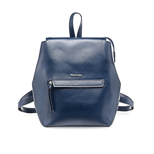 Tamaris BABETTE Damen Handtasche, Backpack, Rucksack, 30x20x13 cm (B x H x T), 4 Farben: black, blue, vino oder black comb, Farbe:blau