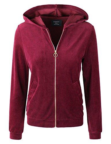 (makeitmint Women's Velour Terry Zip Up Velvet Hoodie Sweatshirt Jacket YJH0037-WINE-LRG)