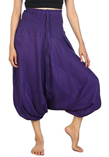 Lofbaz Women's Hippe Solid Smocked Waist Harem trousers Rayon boho Pants Purple XL (Purple Pants Harem)