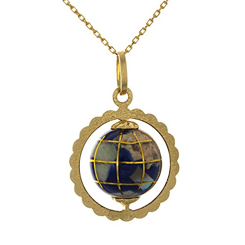 14k Yellow Gold 3D World Globe Necklace Pendant with Chain, Enamel, Moveable