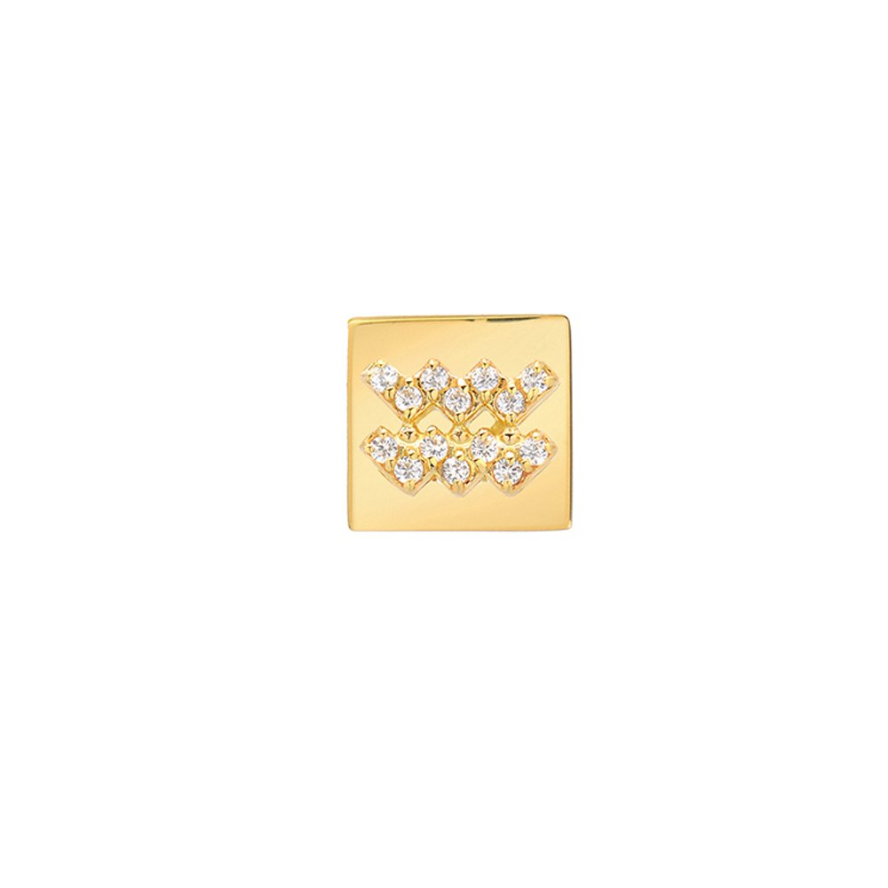 14k Fine Gold Modern Look Diamond Accented Square Frame Aquarius Earring