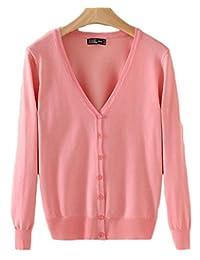 Joyi Women Solid Button Down Long Sleeve Basic Soft Knit Cardigan Sweater