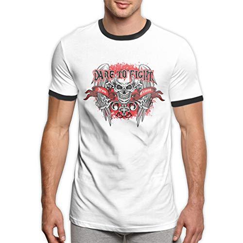 (COURTNEY DOYLE Design Men's Skull Gothic Ringer T Shirts Black)