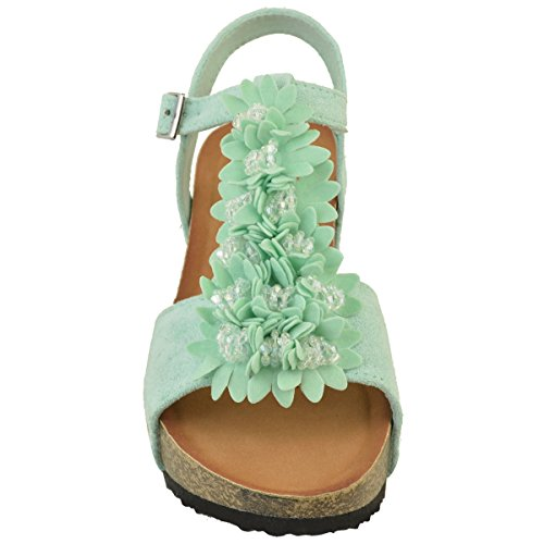Fashion Thirsty Womens Mid Wedge Floral Summer Sandals Platform Heels Holiday Shoes Mint Green Faux Suede klLKMXpn