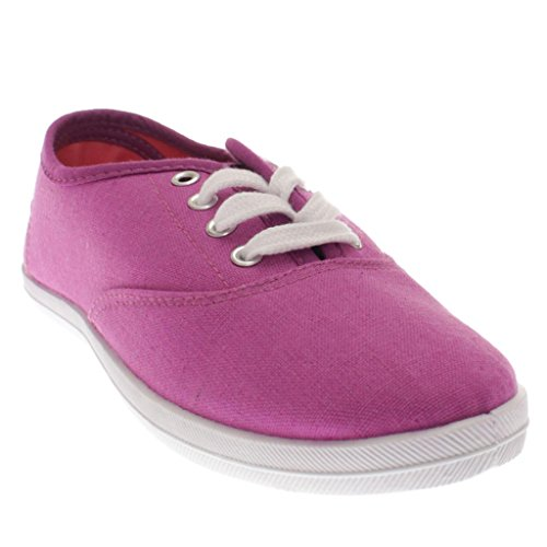 Wilde Diva Damesmode Lace Up Canvas Slip Op Sneakers Loafers Flats Schoenen Orchidee Canvas Aa