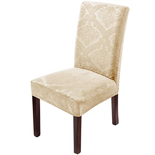 Delight Dining Room Chair Covers,Velvet Stretch Chair Covers for Dining Room,Removable Washable Dining Chair Covers(4 PCS-Beige)